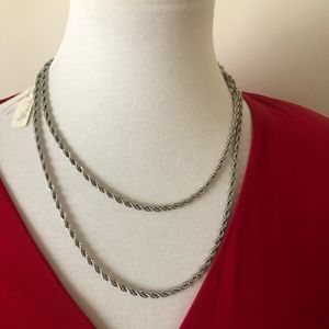 NWT Vintage Park Lane Silver Rope Style Necklace